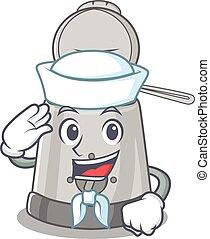 friteuse, chapeau, profond, marin, dessin animé, porter, ...