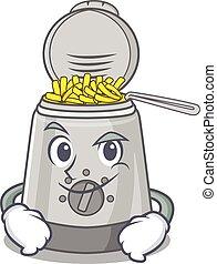 friteuse, mascotte, caractère, profond, frais, figure, ...
