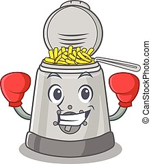 friteuse, mascotte, caractère, style, profond, boxe, sportif