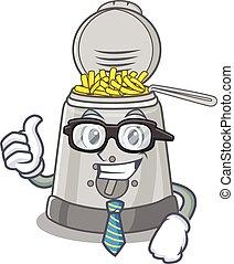 friteuse, profond, lunettes, intelligent, homme affaires, ...