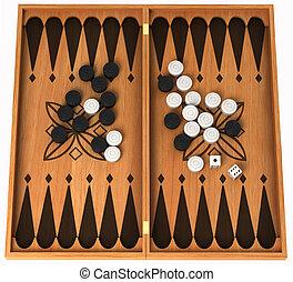 fritid, activity:, trä, backgammon, isolerat