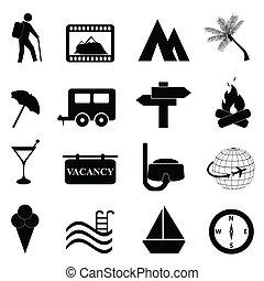 fritid, och, rekreation, ikon, sätta