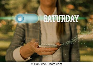 fritid, saturday., foto, text, tid, visande, semester, begreppsmässig, underteckna, första dag, moment., helg, avkopplande