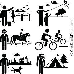 fritids-, utomhus, fritid, folk