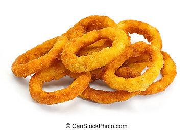 frito, anillos, profundo, cebolla