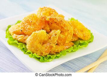 frito, camarones
