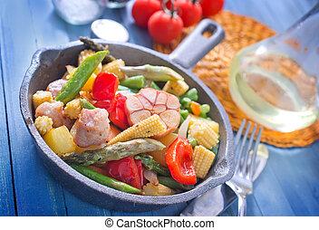 frito, carne, con, vegetales