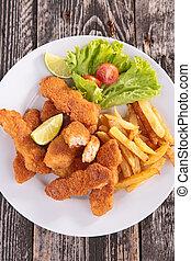 frito, pollo, Pepitas