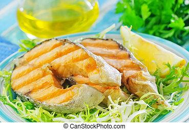 frito, salmón