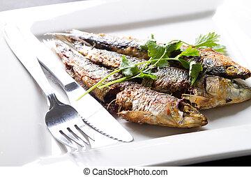 frito, sardina, en, placa
