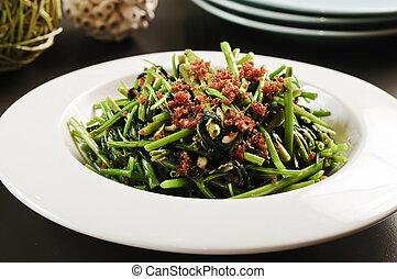 frito, vegetales, de, el, enredadera, o, rau, muong, blanco, placa, en, vietnam