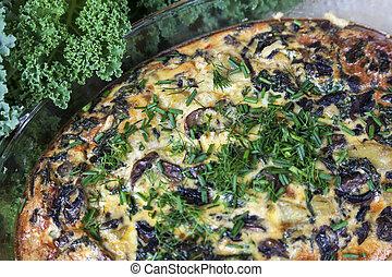 frittata, com, cogumelos, e, kale