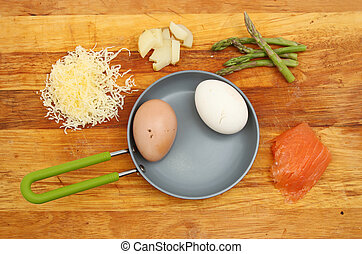 Frittata ingredients on a board