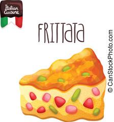 Frittata. Omelette with tomato, zucchini. Italian food...