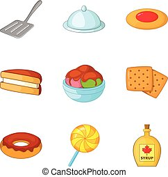 Fritter icons set, cartoon style