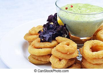 fritto, anelli, cipolla