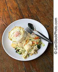 fritto, sano, verdura, tofu, cibo, cibo., fondo., mescolato, mescolare-fritto, piatto, pietanza, legno, riso bianco, uovo, vegetariano