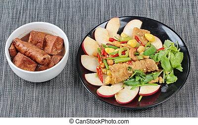fritto, vegetali mescolati, e, marrone, così