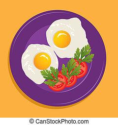 fritto, vettore, uova, piastra