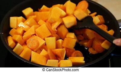 friture, carottes, moule, rôti, citrouille