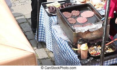 friture, viande, hamburgers