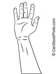 frivillig, hånd