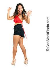 Frivolous provocative woman sticking out a tongue -...