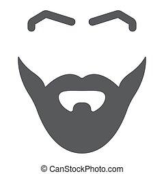 frizura, aláír, motívum, haj, szilárd, vektor, borbély, háttér., grafika, ikon, white hím, glyph, bajusz, szakáll