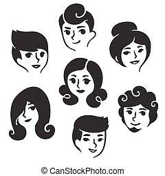 frizura, hím, női