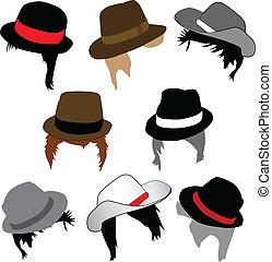 frizura, kalapok, mód, -, hím