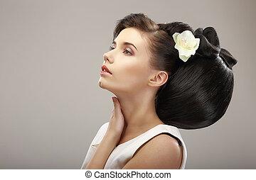 frizura, kortárs, design., érzéki, nő, noha, kreatív, coiffure., ragyogás