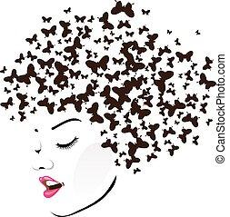 frizura, noha, pillangók