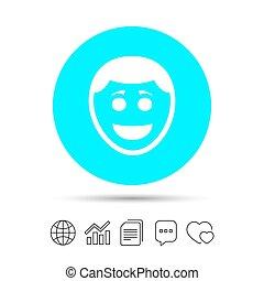 frizura, smiley, jelkép., arc, mosoly, icon.