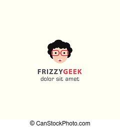 Frizzy geek, geek smile. Vector logo template