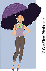 Upset young woman standing under umbrella with her long curly hair frizzed up