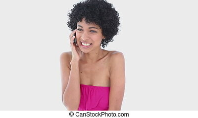 Frizzy haired woman on the phone