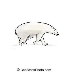 fro, oso, diseño, su, bosquejo, polar