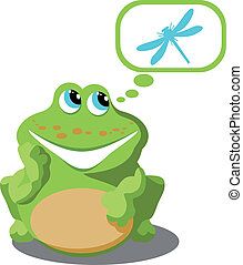 Frog 02 - Vector. Frog with dragonfly 02