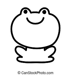 frog amphibian farm animal cartoon background thick line