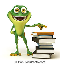 Frog and book