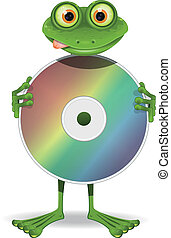 Frog and CD - illustration  curiosity green frog and CD