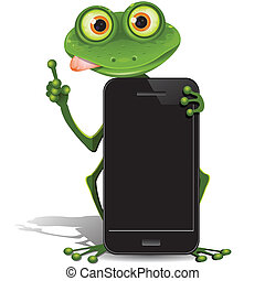 frog and cellular telephone - illustration, green frog with...