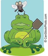 Frog and Fly - Frog with fly swatter is oblivious to the fly...