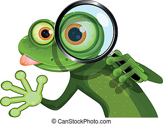 Frog and magnifying glass - illustration green frog with big...