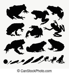 Frog and metamorphose silhouettes