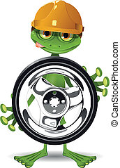 Frog and the wheel - Frog in a helmet and a wheel