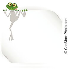 Frog And White Background - illustration merry green frog...