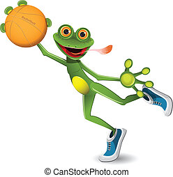 frog basketball - illustration merry green frog with a...