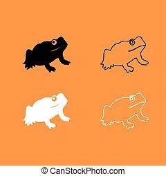 Frog black and white set icon .
