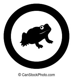 Frog black icon in circle vector illustration